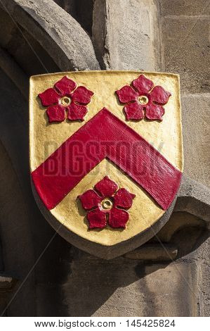 The coat of arms of All Souls College - one of the historic colleges of the University of Oxford England.