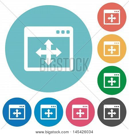 Flat move window icon set on round color background.