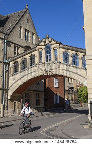 OXFORD UK - AUGUST 12TH 2016: A view of the Bridge of Sighs (also known as Hertford Bridge) in the city of Oxford on 12th August 2016.