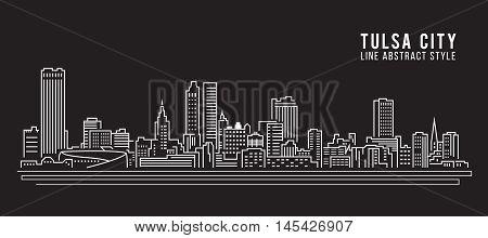 Cityscape Building Line art Vector Illustration design - Tulsa city