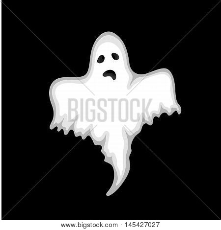 Ghost On A Black Background In The Style Of The Cartoon