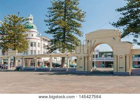 NEW ZEALAND - MARCH 8 2013: The New Napier Arch commemorating the rebuilding of Napier city after the earthquake of 1931