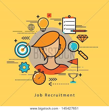 Line flat business design and infographic elements for job candidate evaluation and interview, assessment and recruiting, resources management and hiring, career and employment concept
