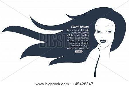Profile Of Young Beautiful Woman With Hair Bun. Black And White Hand Drawing. Vector