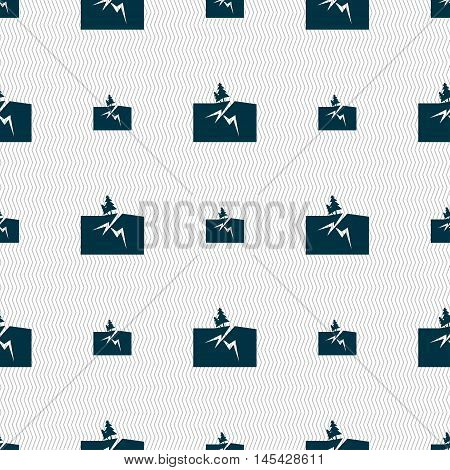 Property Insurance Icon Sign. Seamless Pattern With Geometric Texture. Vector