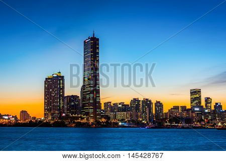 Seoul City And Downtown Skyline In Seoul, South Korea.