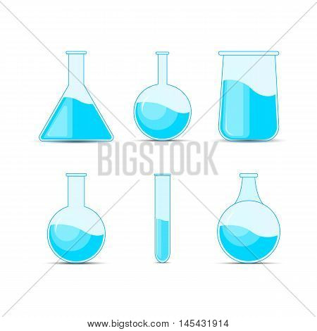 Set Chemical Flask. Erlenmeyer Flask, Distilling Flask, Volumetric Flask, Test Tube. Vector Illustra
