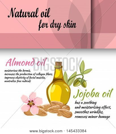 the concept of cosmetology / spa procedure / description of useful properties of almond oil and jojoba oil poster