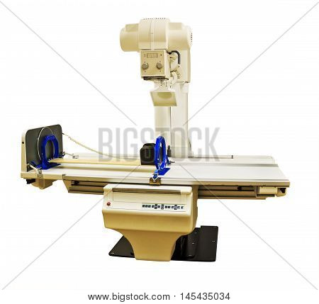 Remote controlled X-ray machine isolated on white background. Radiographic and fluoroscopic diagnostic system with rotating table