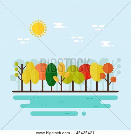 Autumn landscape. Autumn forest trees on blue background with river. Flat style vector illustration.