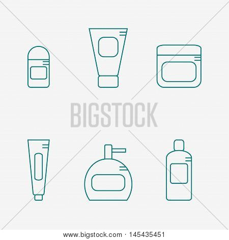 Bathroom supplies icon isolated on white background. Deodorant, cream, tooth paste, soap bottle, shampoo. Hygiene tools. Flat line style vector illustration.