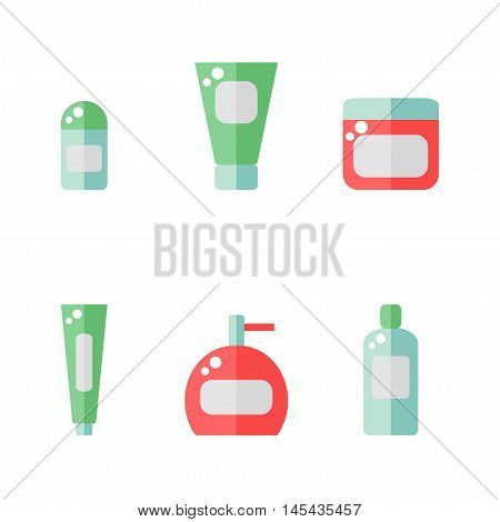 Bathroom supplies icon isolated on white background. Deodorant, cream, tooth paste, soap bottle, shampoo. Hygiene tools. Flat style vector illustration.