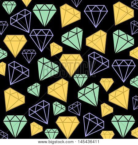 Illustration Diamond in different colors on a black background.