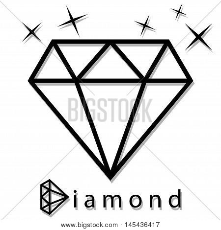 An illustration of a diamond in silhouette on a white background.