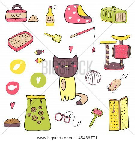 Cute hand drawn doodle cat stuff objects including cage mice toy ball toilet bed playground food brush leash fish no smell spray scratching deck Kitten objects icon
