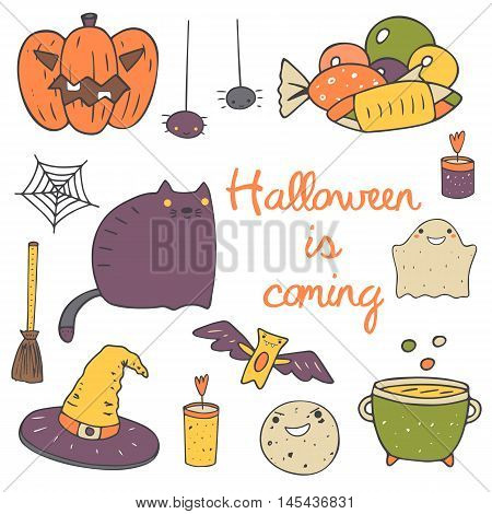 Cute hand drawn doodle halloween objects collection including pumpkin spider sweets net cat ghost candle cauldron moon bat witch hat broom stick Halloween icons set decorative elements