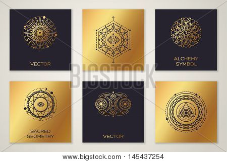 Set of Sacred Geometry Minimal Geometric Shapes on Cards. Black and Gold Alchemy Symbols, Occult and Mystic Signs. Forms with Eye, Moon and Sun