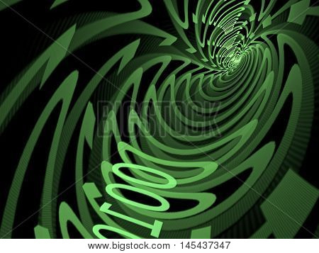 Abstract tech background - computer-generated image. Green tunnel consisting of zero and one digit. Concept design element for internet, communication, information technology projects.