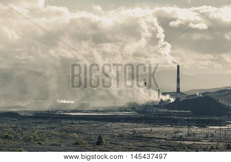 Copper mining plant and dumps Russia Karabash