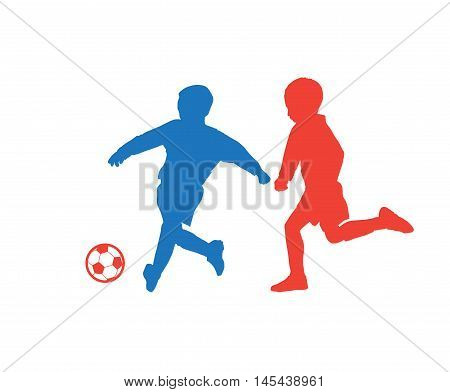 Children playing, soccer ball. Football players with soccer ball, kids. Vector colorful kids silhouettes and soccer ball. Sport, Kids camp. Vector illustration.