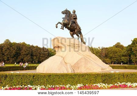 SAINT PETERSBURG RUSSIA - JULY 27 2016: The equestrian statue of Peter the Great (Bronze Horseman) in the sunset light