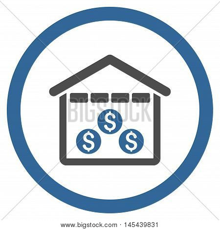 Money Depository rounded icon. Vector illustration style is flat iconic bicolor symbol, cobalt and gray colors, white background.