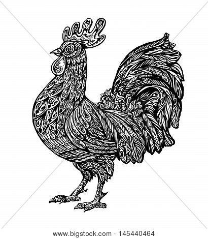 Hand drawn cockerel. Ethnic pattern. Vector illustration