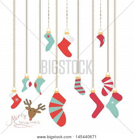 Christmas Socks Hanging On A Magic Thread, New Year's Logo Is A Deer,