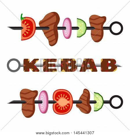 Turkish kebab in flat style. Cooked delicious traditional dish. Set of kebab, minced meat. Vector grilled meat food and tasty barbecue.