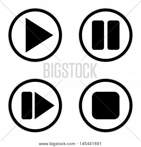 Play pause stop forward buttons set on white background. Vector illustration.
