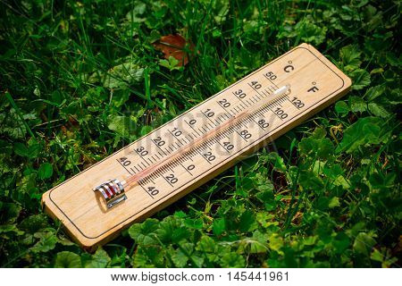 Wooden thermometer in the garden on the grass.