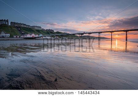 Saltburn at Sunset, at Saltburn by the Sea which is a Victorian seaside resort with what is the most northerly surviving British Pier