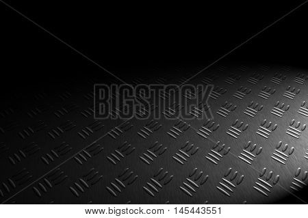 monochrome diamond plate with lighting and drop of paint on black shadow background. 3d illustration.