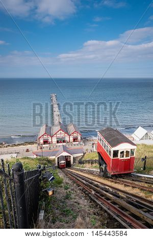 Saltburn Cliff Lift, at Saltburn by the Sea which is a Victorian seaside resort with a pier and cliff lifts or funicular