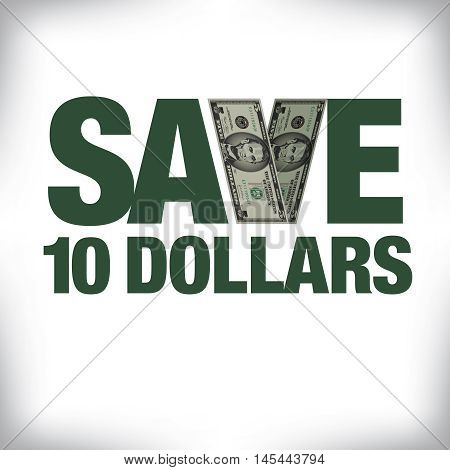Save ten dollars retail copy with white space for text