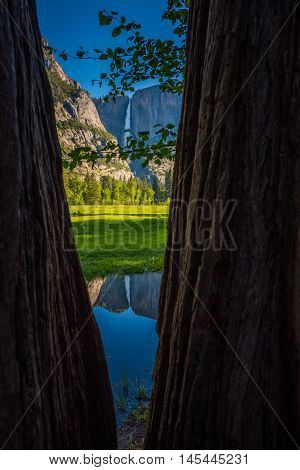 Yosemite Falls Reflection In The Merced River Vertical Composition