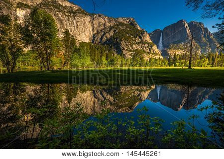 Yosemite Falls Reflection In The Merced River
