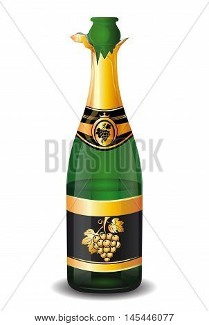 Uncorked a half-empty bottle of champagne with a picture of a bunch of grapes on the label. Vector illustration isolated on a white background