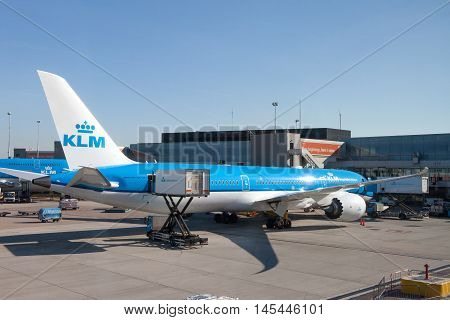 Amsterdam, The Netherlands - August 31, 2016: KLM Boeing 747 parked at Amsterdam's Schiphol airport, KLM's home airport.