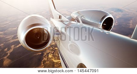Photo of White Luxury Generic Design Private Jet Flying in Blue Sky at sunrise.Closeup Picture of two Reactive Turbine.Mans world.Full power.Business Travel Picture.Horizontal, Film Effect.3D rendering