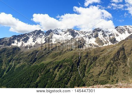 Panorama View Alpine Mountains Seen From Gavia Pass In Stelvio National Park, Italy
