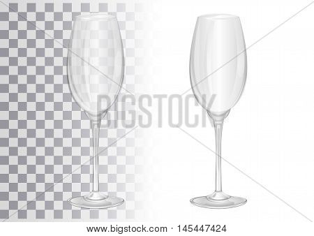 Empty champagne glass. Goblet. Wineglass. Transparent. Vector illustration