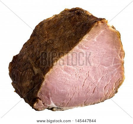 Appetizing piece of smoked meat. The image is a cut out isolated on a white background with a clipping path. The image is in full focus front to back.