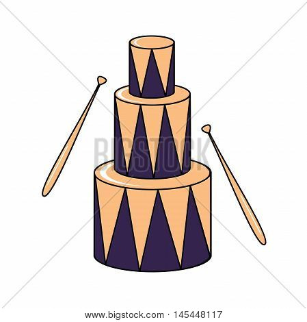 a set of children's drums with sticks, vector illustration. Illustration of a big toy drum on a white background. Music Icons. Drum Sticks. cartoon design of drums with drum sticks.