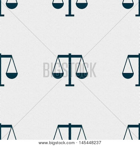 Scales Of Justice Icon Sign. Seamless Pattern With Geometric Texture. Vector