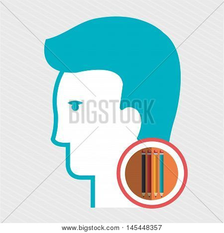 silhouette color pencil vector illustratio icon eps 10