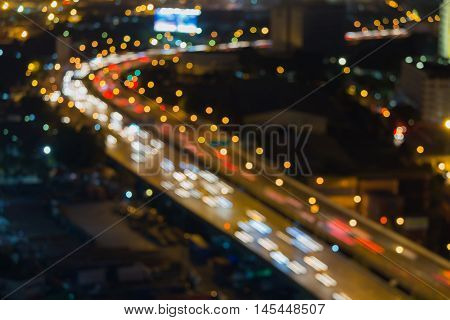 Abstract blurred bokeh city road moving at night view