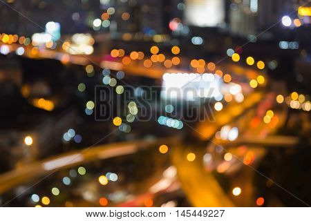 Abstract blurred light, city highway interchanged night view