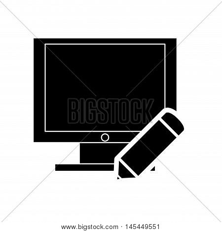 flat design pencil and computer monitor icon vector illustration
