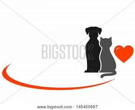 Animals With Heart On White Background